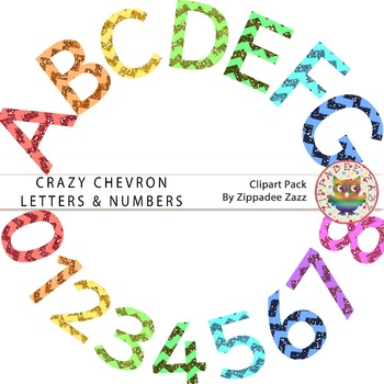 Crazy Chevron Glitter Letters and Numbers - Alphabet / Number Clipart