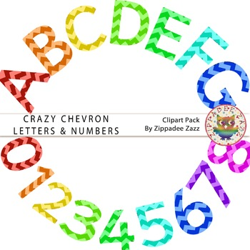 DOLLAR DEAL Crazy Chevron Letters and Numbers - Alphabet / Number Clipart