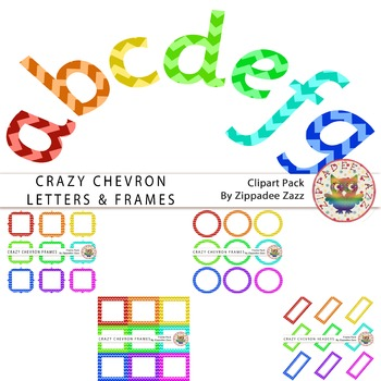 Crazy Chevron Lowercase Alphabet Clipart and 36 White Filled Frames