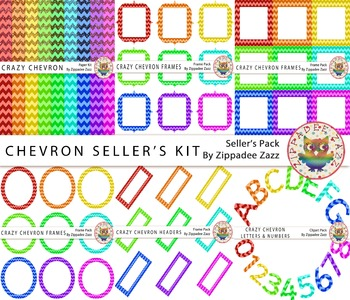 Crazy Chevron Seller's Kit - 90 items! Background/frames/headers/letters/numbers