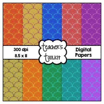 Crazy Circles Digital Background Papers {8.5 x 11} Clip Art CU OK