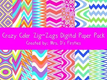 Crazy Color Zig-Zags Digital Paper Pack