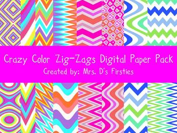 Crazy Color Zig-Zags Digital Paper Pack