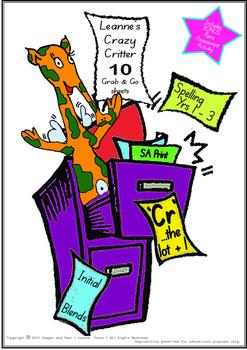 Crazy Critter's 10 Activities - CR Words - Booklet