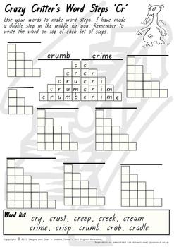 Crazy Critter's 3 Activities - CR Words - Set 2 Bundle