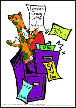 Crazy Critter's 3 Activities - ST Words - Set 1 Bundle