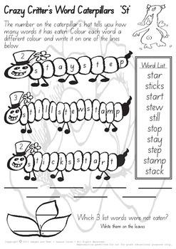Crazy Critter's Caterpillar Words - ST Worksheet
