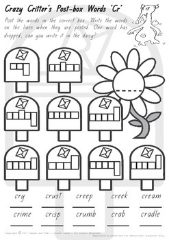 Crazy Critter's Post Box Words - CR worksheet
