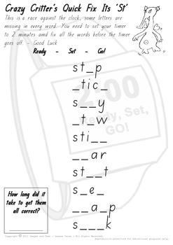 Crazy Critter's Quick Fix Its - ST Worksheet