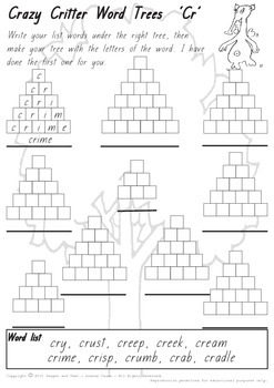 Crazy Critter's Word Trees - CR worksheet
