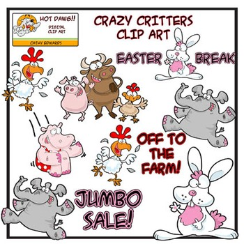 Crazy Critters - Digital clip art by Hot Dawg Illustration