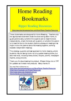 Crazy Critters Home Reading Bookmarks