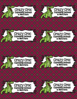 Crazy Croc Card Game: Expressing Decimals in Word Form