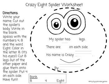 Crazy Eight Halloween Spider Project (Number Sense: 8)