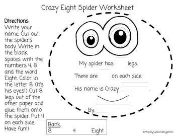 Crazy Eight Halloween Spider Project (Number Sense: 8)