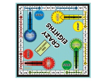 Crazy Eighths! Fraction Board Game (play it just like the