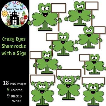 Crazy Eyes Shamrocks with a Sign Clip Art