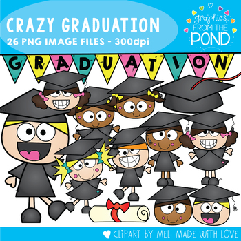 Crazy Graduation Kids Clipart