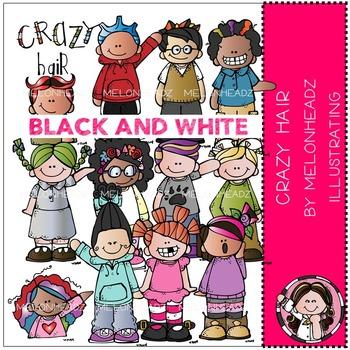 Melonheadz: Crazy Hair clip art - BLACK AND WHITE
