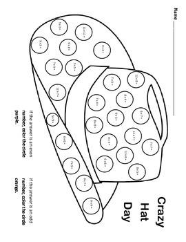 Crazy Hat Day! / Fun Multiplication Worksheet / Odd & Even Number Identification