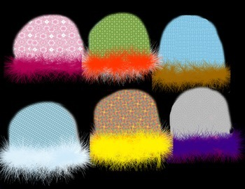 Crazy Hats Clipart (Textured and Fuzzy)
