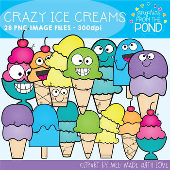 Crazy Ice Cream Clipart Set