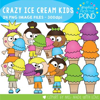 Crazy Ice Cream Kids Clipart