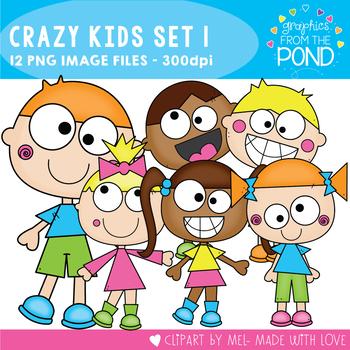 Crazy Kids Clipart - Set 1
