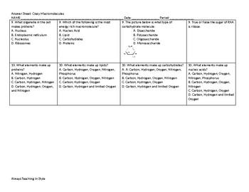 Crazy Macromolecule Student Answer Sheet and Teacher Answer Key