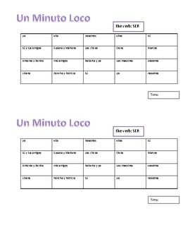 Crazy Minute Conjugations in Spanish