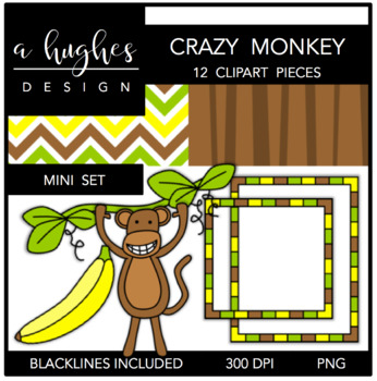 Crazy Monkey Mini Clipart Bundle {A Hughes Design}
