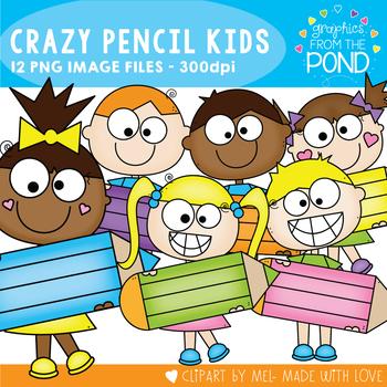 Crazy Pencil Kids Clipart