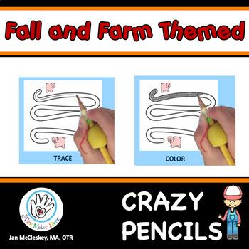 Fine Motor Crazy Pencils!  FALL AND FARM ANIMAL THEMED   A