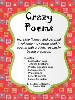 """Crazy Poems"" Fluency Practice Program-Fun & Easy Fluency Practice-School & Home"