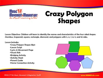 Crazy Polygon Shapes Song(Mp3) and Lesson Materials & Printables