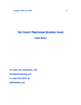 Crazy Professor Reading Game