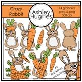 Crazy Rabbit Clipart {A Hughes Design}