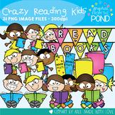 Crazy Reading Kids Clipart Set