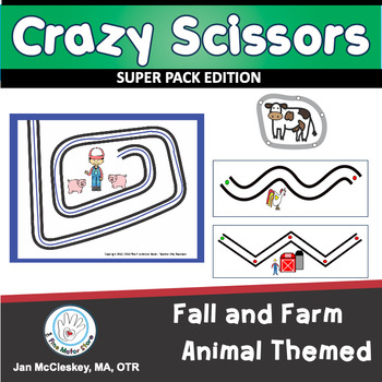 Fine Motor Crazy Scissors!  FALL AND FARM ANIMAL THEMED Activities for Centers