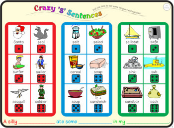 Crazy Sentences Bundle: S, L, SH, CH, J, TH, R Speech Therapy Activities