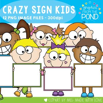 Crazy Sign Kids Clipart