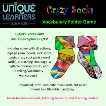 Crazy Socks Folder Game -- Vocabulary Open Syllables