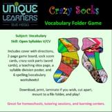 Crazy Socks Folder Game -- Vocabulary Open Syllables