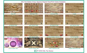 Crazy Squares English PowerPoint Game Template-An Original by ESL Fun Games