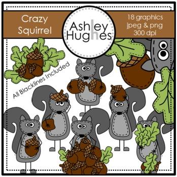 Crazy Squirrel Clipart {A Hughes Design}