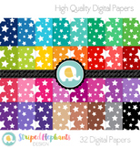 Bright Crazy Star Digital Papers