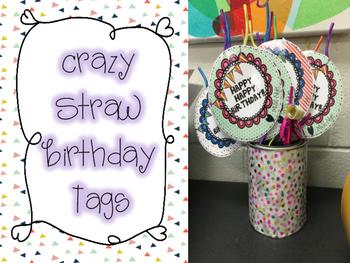 Crazy Straw Birthday Tags