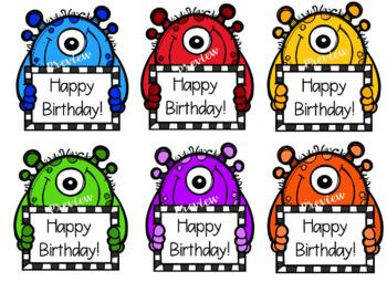 Monster Birthday Crazy Straw Tags! FREEBIE!!