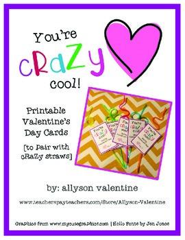 Crazy Straw Valentine Printable