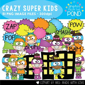 Crazy Superhero Kids Clipart